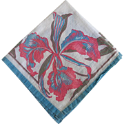 Vintage Linen Handkerchief Pocket Scarf with Orchid Print