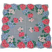 SALE PENDING Vintage 1940s Hanky Gray with Red Blue and White Flowers