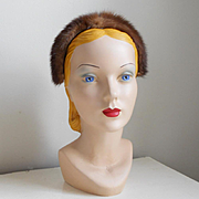Vintage 1960s Light Brown Fur Headband Hat by Saks Fifth Avenue
