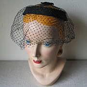 Vintage 1960s Black Linen Ring Hat with Veil and Bows