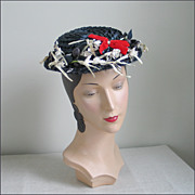 Vintage Navy Blue Woven Summer Straw Hat with Flowers and Red Bows