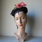 SALE Vintage 1950s Shimmery Black Hat with Pink Flower and Tie Back Veil