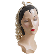 SOLD Authentic Vintage 1940s Cream Crocheted Snood Cap Hat by Arell