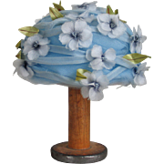 Authentic Vintage 1960s Sky Blue Spring Hat with Flowers by American Designer Sally Victor