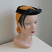 Vintage 1960s Black Velvet Ring Hat with Dramatic Feather Accent