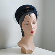 Vintage 1960s Navy Blue Wool Bubble Hat by Everitt with Velvet Bow and Veil
