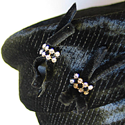 Vintage 1960s Quilted Black Velvet Winter Pillbox Hat with Rhinestone Bows
