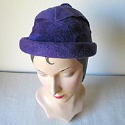 Vintage 1960s  Duchess of Italy Fuzzy Soft Purple Hat with Felt Trim