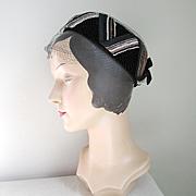 Authentic Vintage 1960s Black Winter Velvet Pillbox Hat with Chevron Striping