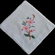 Vintage 1950s 1960s Embroidered Dogwood Flower Handkerchief Hanky