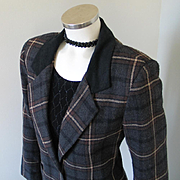 SALE Vintage 1980s Tracy Evans Dark Plaid Blazer with Contrast Flannel Collar M L