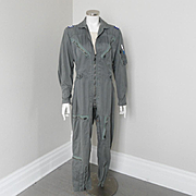 Vintage 1960s Coverall Flying Mens US Airforce Flight Suit Jumpsuit K2B S-Reg Fatigue Green