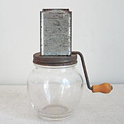 SOLD Vintage Nut Meat Chopper The Uniform Hazel Atlas Clear Glass Bottom with Metal Crank Lid