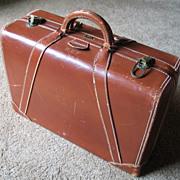 Vintage 1940s Horn Cognac Leather Satchel Briefcase Attaché Case Luggage