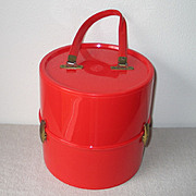 Vintage Tomato Red Mod Plastic Wig Tote Carrier Hat Box Luggage