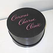 Vintage Shiny Black Hat Box Carrier with Pink Carsons Charm Clinic