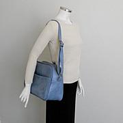 SALE Vintage 1970s Light Blue Carry On Shoulder Bag Tote Luggage