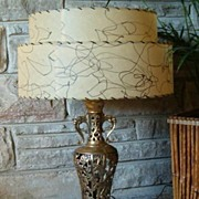 Vintage 1960s Exotic Oriental Brass Table Lamp
