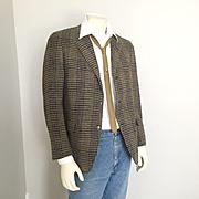 Vintage 1960s Pure Virgin Wool Houndstooth Plaid Sport Jacket Sportcoat Hart Schaffner & Marx