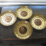 Vintage 1960s Set of Four Brass Musician Plates Wall Hangings England