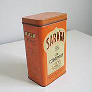 SALE Orange Cream and Black Saraka Lidded Tin Rectangular Canister
