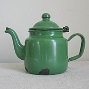 Vintage 1930s Small Green Small Enamel Hinged Teapot Tea Pot