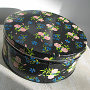 Large Vintage Biscuit Cookie Tin Canister Blue and Pink Flower Print on Black