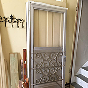 Vintage Mid Century Aluminum Mill Finish Storm Door with Scroll Design