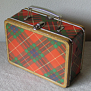Vintage 1954-1956 ADCO Liberty Plaid Metal Lunchbox in Red, Green & Purple Tartan RARE