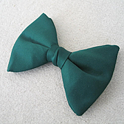 Vintage 1970s Menswear Fat Forest Green Bowtie Bow Tie Necktie Neck Tie