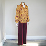 SALE Authentic Vintage 1970s Red Eye Two Piece Pantsuit Maroon Gold  S M