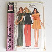 Vintage 1973 McCall's Carefree Pattern Mini Dress Top Pants #3877