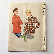 Vintage 1955 NOS McCalls Sewing Pattern for Casual Jacket 49er Style Uncut