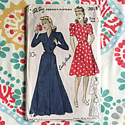 Vintage Authentic Original 1941 1940s Wrap House Dress Robe Housecoat Sewing Pattern DuBarry 2
