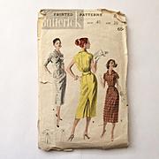 Authentic Original Vintage Slim Silhouette Dress Pattern by Butterick # 8128 Bust 40