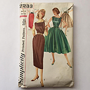 Vintage 1950s Fit and Flare Dress Skinny Jumper Full Skirt Pencil Skirt Sewing Pattern Simplic