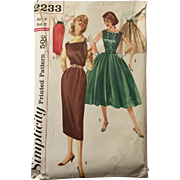 Vintage 1950s Fit and Flare Dress Skinny Jumper Full Skirt Pencil Skirt Sewing Pattern ...