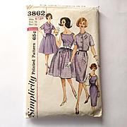 Vintage Early 1960s Simplicity Dress Skirt Blouse Jacket Pattern #3862