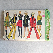 Vintage 1969 Sewing Pattern Simplicity 8409 Winter Wardrobe Skirt Jacket Trousers Culottes