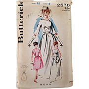 Vintage 1960s Butterick 2570 Sewing Pattern Wedding Dress Bridal Gown Attendant
