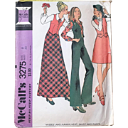 Vintage 1970s Vest Maxi Mini Skirt Bell Trousers Pants McCall's Sewing Pattern 3275