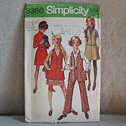 Vintage 1969 Simplicity Wardrobe Ensemble Separates Sewing Pattern 8360