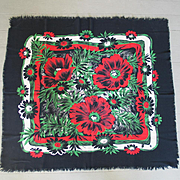 Vintage 1950s Black Cotton Scarf with Huge Red Green and White Flower Print