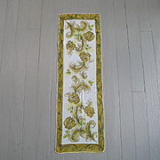 Vintage 1960s Olive Green Cream Lime Silk Hand-rolled Scarf