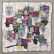 Vintage 1960s Silk Scarf with Colorful Rickshaw Print
