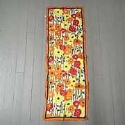 Vintage 1960s Modern Long Skinny Scarf Red Orange Yellow Poppies Flowers