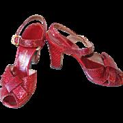 SALE Vintage 1940s Crimson Red Reptile Peep Toe High Heel Shoes