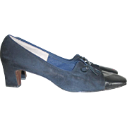 Vintage 1960s Midnight Navy Blue Suede Patent Leather Two Textured Shoes Heels