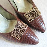 Vintage 1960s Scrolled Goldtone Musi Shoe Clips Shoeclips