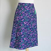 Vintage 1960s Purple Plum Orchid Green Flower Print A Line Skirt NOS  M